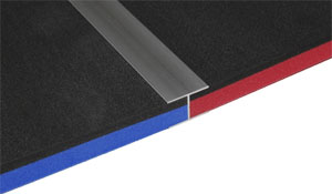 anodized aluminum connector with black/red and black/blue tool foam panels