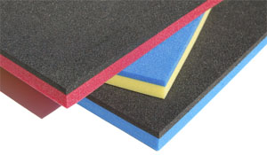 Black and Red, Blue and Yellow, and Black and Blue Tool Foam