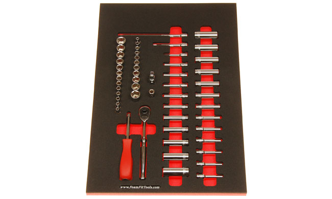 Foam Organizer for 48 Tekton 1/4-drive Sockets with 1 Ratchet and 5 Additional Tools
