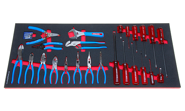 Foam Organizer for 12 Wright Screwdrivers, 11 Channellock Pliers and 1 Channellock Adjustable Wrench