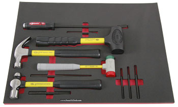 Foam Organizer F1A-01526 with 4 Nupla Hammers, 1 Mayhew Pry Bar, and 6 Mayhew Punches